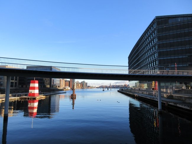 On the left is one of the many harbor baths in Copenhagen